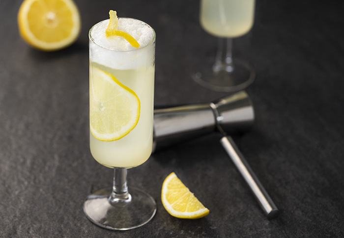 a frothy classic fizz with gin, lemon, and egg whites