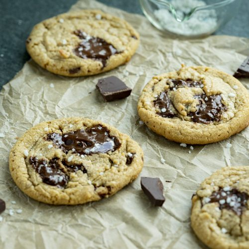 freshly baked chocolate chip tahini cookies